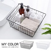 大日式鐵藝家居收納盒整理分類分隔浴室廚房儲物籃鐵藝簡約方型收納籃MY COLOR 【Q265 】