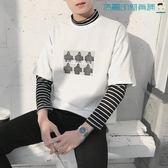 韓版寬鬆條紋假兩件印花長袖T恤