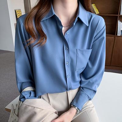 襯衫 長袖襯衫女雪紡上衣S-2XL秋季白色雪紡襯衫女襯衣時尚洋氣職業上衣T653A紅粉佳人