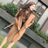 毛呢外套 女秋裝2020年新款韓版長袖簡約大方毛呢連帽外套開衫中長款大衣潮 新年慶
