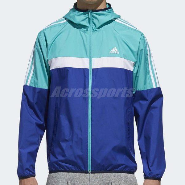 adidas 防風外套 WB Classic 藍 湖水藍 連帽夾克 運動款 男款 【PUMP306】 DH3996