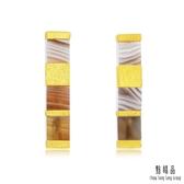點睛品 g*collection系列 時尚方形幾何瑪瑙純金耳環
