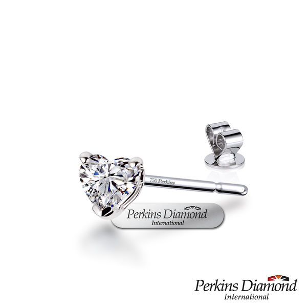 GIA 鑽石耳環 PERKINS 伯金仕 Heart Cut系列 0.30克拉心形單邊鑽石耳環