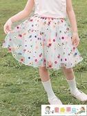 女童半身裙 大象加女童刺繡網紗半身裙夏季中大童網紗半身裙寶寶蓬蓬裙 童趣