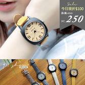 Maroon.香港FEIFAN。有趣視力檢查紋路皮革錶帶手錶【tc484】*911 SHOP*