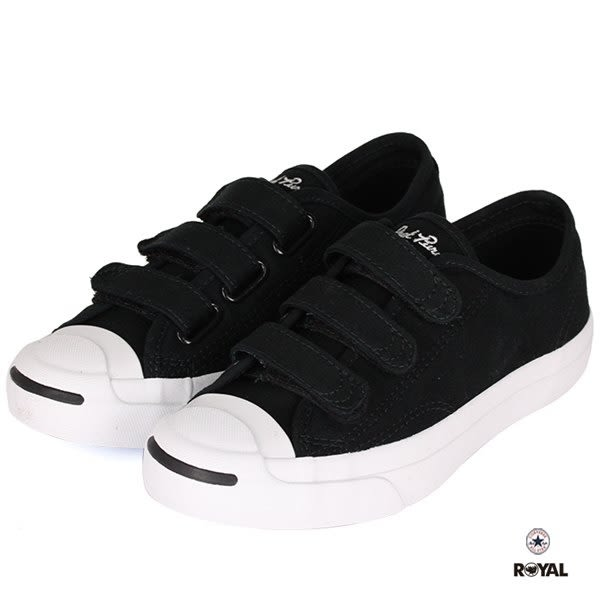 CONVERSE 新竹皇家 JackPurcell 3V 黑色 布質 魔鬼氈 休閒鞋 男女款 NO.A9556