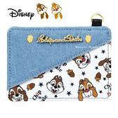 日本限定 迪士尼 奇奇蒂蒂 星星 栗子 牛仔布  伸縮票卡夾 / 卡夾套