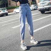 束腳牛仔女 老爹褲女顯瘦寬鬆超火奶奶褲復古九分牛仔薄絨加絨厚哈倫束腳 暖心生活館