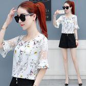 chic碎花雪紡衫女新款韓版甜美洋氣修身蕾絲上衣夏季短袖小衫   芊惠衣屋