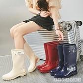 雨鞋女高筒韓國可愛時尚款外穿雨靴長筒水鞋防水防滑加絨成人套鞋