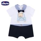 chicco-駕駛小熊-假兩件式有領短袖兔裝