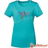 Wildland 荒野 0A61623-65湖水藍 女彈性棉感抗UV印花上衣 抗紫外線/涼爽散熱/吸濕快乾/登山旅遊*