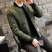 夾克外套-棒球領韓版時尚貼標休閒夾棉男外套3色73qa31[時尚巴黎]