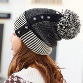 [限購價$99] 鈕扣毛球雙色拼接加厚保暖毛線帽 暖冬帽 造型帽 防風帽