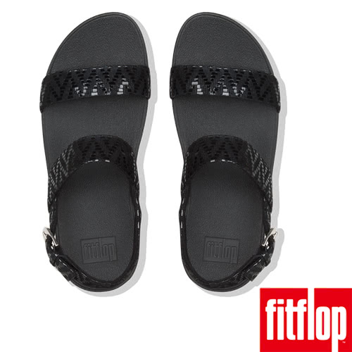 【FitFlop】LOTTIE CHEVRON-SUEDE BACK-STRAP SANDALS(黑色)
