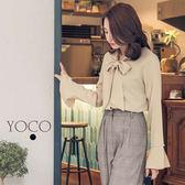 東京著衣【YOCO】優雅美人蝴蝶結珍珠開衩喇叭袖上衣-S.M.L(172635)