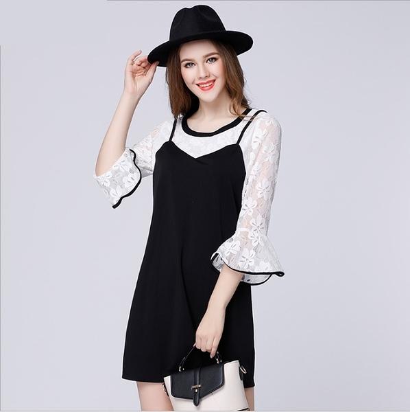 大尺碼洋裝 荷葉袖黑白撞色蕾斯假兩件連身裙 XL-5XL #sn3511 ❤卡樂store❤