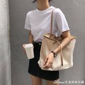 新款簡約撞色帆布包手提布包購物袋大容量單肩包休閒女包 快速出貨
