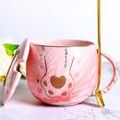 貓爪杯 創意貓爪杯可愛陶瓷水杯帶蓋勺情侶馬克杯女男學生家用咖啡杯子【全館免運】