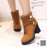 短靴 新款歐美秋冬季馬丁靴女英倫風高跟短靴粗跟媽媽棉鞋加絨女靴 歐歐流行館