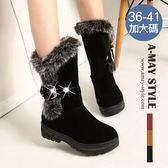 中筒靴-時尚絨毛滾邊雪靴(36-41加大碼)