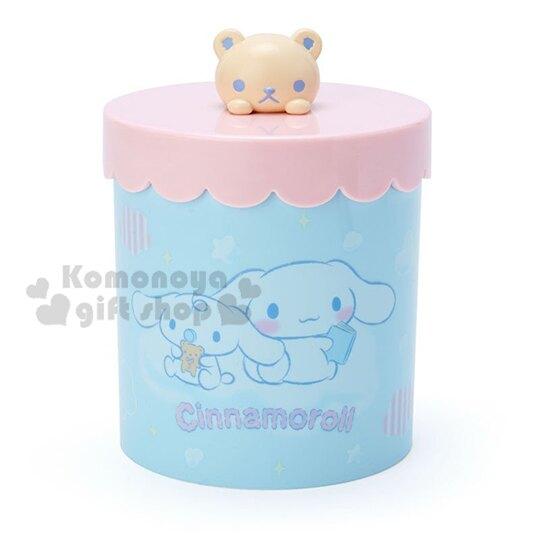 〔小禮堂〕大耳狗 圓形塑膠造型拿蓋收納罐《粉藍》置物罐.棉花罐.收納盒 4901610-08181
