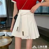 短裙年夏季新款不規則高腰白色半身裙女顯瘦網紅百褶裙A字裙 三角衣櫃