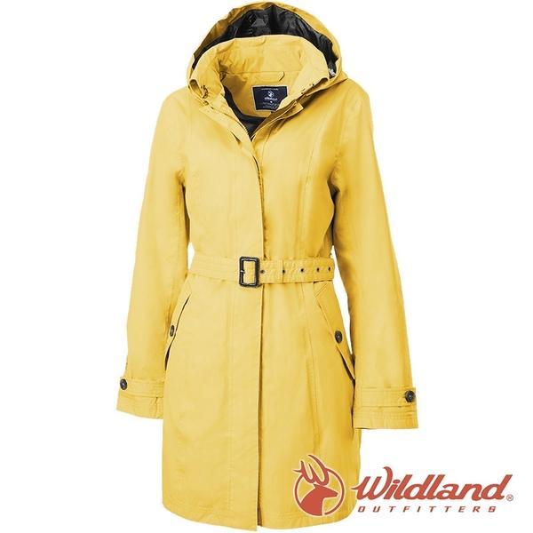 【wildland 荒野】女 長版防水防風時尚外套『藤黃』0A82909 戶外 休閒 運動 露營 登山 騎車