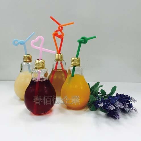 派樂創意玻璃燈泡杯 珍珠奶茶燈泡瓶 珍奶瓶 電燈泡造型玻璃飲料瓶插花瓶魚缸300ml透明杯附吸管