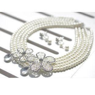 四層珍珠套鏈 新娘項鏈兩件套 2115