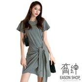EASON SHOP(GW5678)實拍百搭斜邊拉皺綁繩圓領短袖T恤裙連身裙洋裝女上衣服包臀裙膝上裙一步裙棉短裙