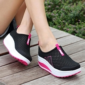 運動鞋女 新款夏季套腳女士網鞋搖搖鞋女運動休閒鞋網面透氣女鞋厚底鬆糕鞋 瑪麗蘇