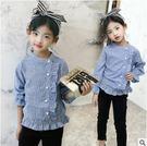 新款韓版女童木耳邊條紋側扣襯衫中大童圓領外穿上衣