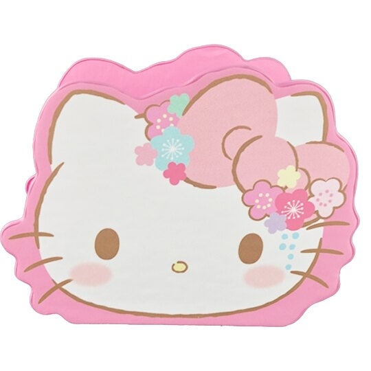 小禮堂 Hello Kitty 造型仿木皮質手機座 木筆筒 刷具筒 桌上型收納盒 (粉 大臉) 4710810-65031