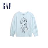 Gap女幼Gap x Disney 迪士尼系列冰雪奇緣圓領長袖套頭T恤519079-淡水藍色