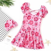 兒童泳衣女連體裙式寶寶小公主泳裝可愛洋氣防曬帶袖中大童游泳衣 快速出貨