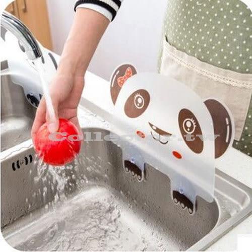 創意廚房 熊貓造型附吸盤水槽防濺擋水板 炒菜防濺擋油板