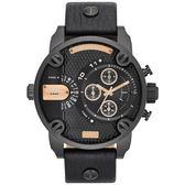 DIESEL 飛行者二地時間個性時尚腕錶(皮帶-全黑)