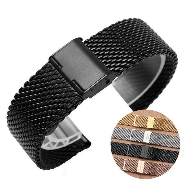 米動錶帶 青春版 粗網 米蘭 金屬錶帶 卡扣式 實心精鋼 替換錶帶 時尚 商務 腕帶 手錶帶