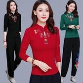 中國風女裝秋冬刺繡立領上衣復古民族風盤扣長袖女T恤大碼打底衫