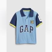 Gap男幼時尚撞色徽標短袖POLO衫538953-舒適藍