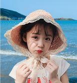 全館83折親子兒童漁夫帽女童草帽子夏綁帶遮陽女寶寶公主防曬海邊沙灘帽