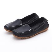 MICHELLE PARK 輕時尚舒適彈力牛皮休閒平底鞋-黑