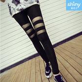 【V2294】shiny藍格子-街頭率性.牛奶絲拼接網紗內搭九分褲