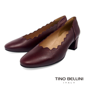 Tino Bellini西班牙進口優雅波浪輪廓粗跟鞋_暗紅 TF8538 歐洲進口款