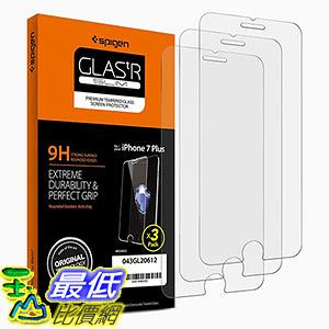 [106美國直購] Spigen B01H2E82MO 手機螢幕保護貼 Glas tR Slim iPhone 7 Plus Screen Protector with Tempered Glass 3 Pack
