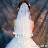 新娘頭紗 新款優雅1.5米花朵瓣新娘結婚白色頭紗韓式簡約婚紗配飾品 晶彩生活