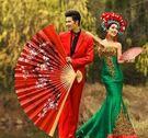 設計師美術精品館超大號紅色中國風大折扇掛扇裝飾扇影樓道具婚紗攝影拍照絹布扇子