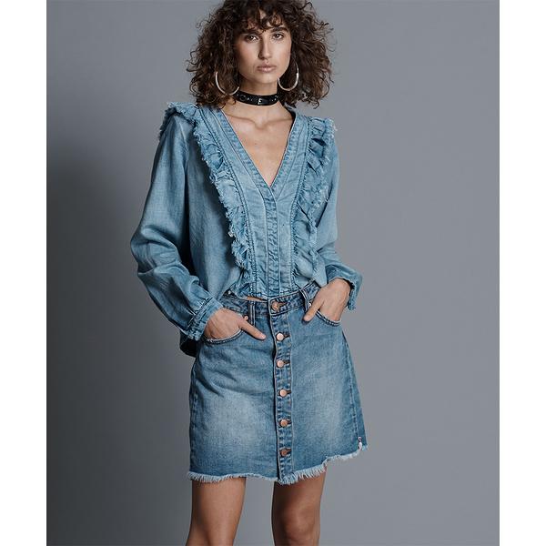 ONETEASPOON VENICE VIPER HIGH WAIST BUTTON 排釦牛仔短裙-藍(女)