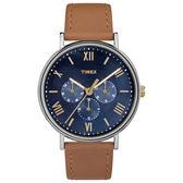 TIMEX 天美時 三眼 手錶(TXTW2R29100) Style風格系列 藍面/駝色皮革錶帶